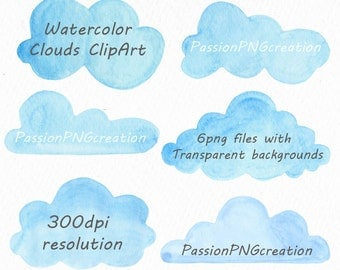 Watercolor Clouds Clipart, Clouds Clipart, Watercolor clipart, clip art, 6 PNG files, Logo, Personal and Commercial Use