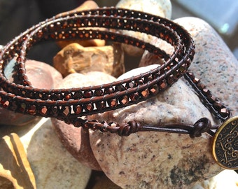 Bohemian Triple Wrap Bracelet Made With Small Brown Bronze Color Glass Beads and Brass Plated Button on Thin Leather