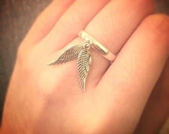 Sterling Silver Adjustable Double Wing Ring