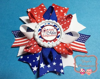 4th of July Bow, 4th of July Hair Bow, Little Miss Independence