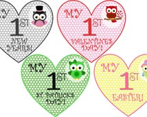 DIGITAL DOWNLOAD: Holiday Onesie Stickers / Iron-Ons 18 events Baby Monthly Onesie Stickers Heart Shaped- Hanukkah, Easter, Christmas & more