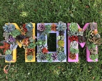 Monogram 'Mom' Vertical Garden Planters