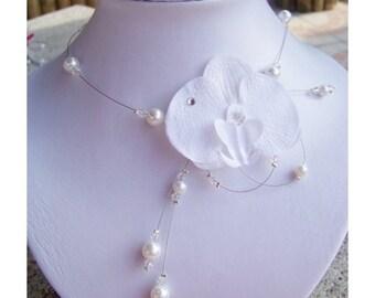 White Orchid necklace bridal wedding evening Model Kate   collier orchidée Blanche mariage mariée soirée Modéle Kate