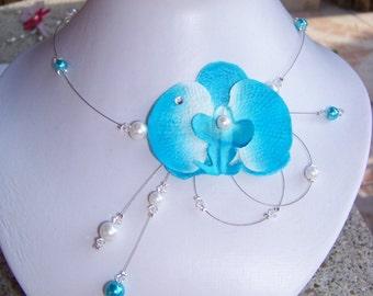 Turquoise necklace orchid bridal wedding evening Lady Model    collier orchidée Turquoise mariage mariée soirée Modéle Lady