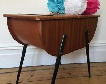 Vintage Retro Atomic 1950s Wooden Sewing Box Mid Century Design