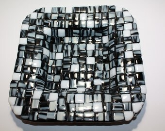 Fused Mosaic Bowl- Black, White, and Grey
