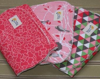 Baby Girl Burp Cloths Pink Flowers, Triangles & Love Birds