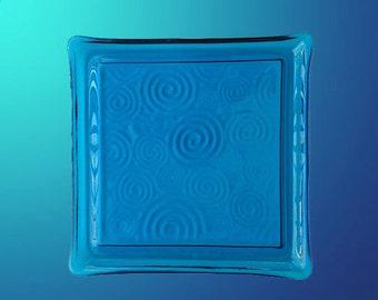 Platter, 10 3/4 inch transparent blue