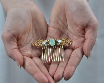 Comb married mint and Golden, jewel wedding