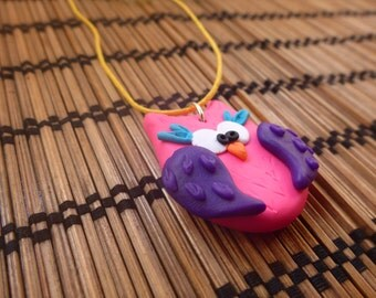 Owl Necklace - Neon Funky Pink