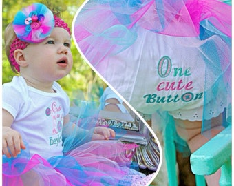 Cute as a Button Birthday Outfit with Tutu & Headband- Personalized
