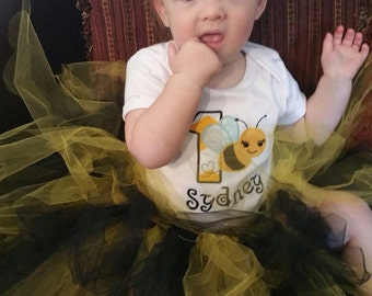 Birthday Bee Outfit with Tutu, Ruffle Bum Bloomers & Headband- Personalized