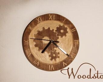 Wooden clock , Poplar wood clock , Handcrafted clock , wall clock , gear wheel clock