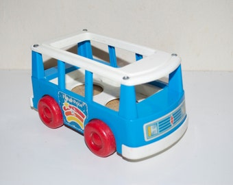 Fisher Price Little People Vintage Blue Bus 1990 for Chunky People
