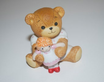 """Lucy Rigg Enesco Teddy Bear Girl with Doll Figurine 1982 Lucy and Me 2"""""""