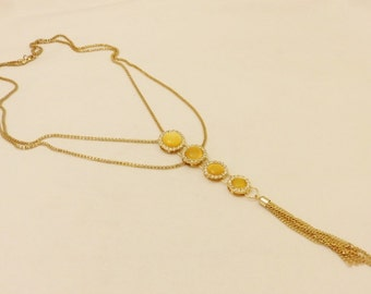 Gorgeous  Multi Starnd Rhinestone Drop Necklace, Vintage Jewelry