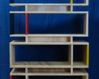 Bookcase with color accents, shelving