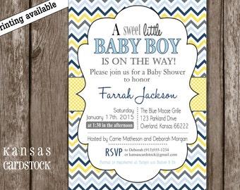 Baby Boy Shower invitation, Chevron baby shower, Blue and yellow chevron, DIY