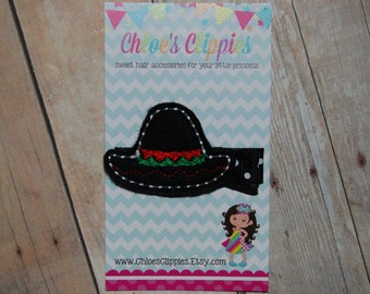 Cinco de Mayo Felt Hair Clip - Felt Black Sombrero Hair Clip - Felt Mexican Hat Hair Clip - Cinco de Mayo Bow - Cinco de Mayo Hair Clip