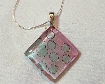 Polkadots Pendant Necklace Alcohol Inks on Glass Sterling Silver Chain 0042