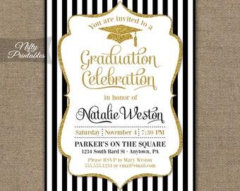 Graduation Invitation - Printable Graduation Party Invites - Elegant Black White & Gold Glitter Grad Class Of Invitations