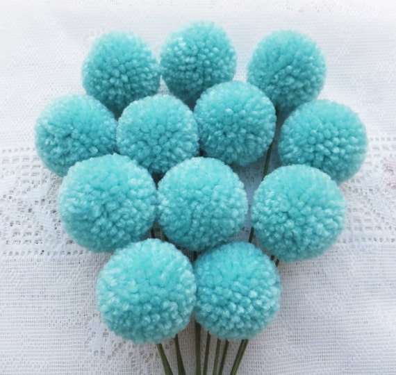 Sea Blue Yarn Pom Pom Flowers: Set of 12