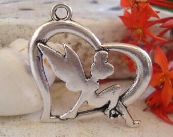Tinkerbell Fairy Heart Charm, Bracelet charm,necklace pendant.1-5-10 pcs