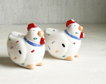 Fat Chicken Salt & Pepper Shakers, Whimsical Polka Dot Vintage Chicken Decor, Country Farmhouse Decor, CLEARANCE!