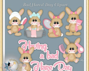 Bunny Clipart, Bad Hare Day