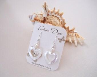 Heart Shaped Mother of Pearl Earrings W/Akoya Pearls Made In Hawaii