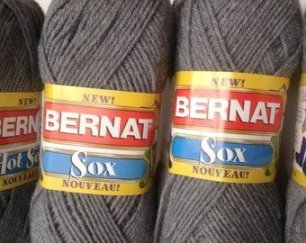 Bernat Yarn, Bernat Hot Sox Yarn, Sock Yarn, Hot Sox, Bernat Hot Sox Steel Hot, Bernat Sock Yarn, Hot Sox Sock Yarn, Grey Sock Yarn