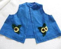 Vintage Teddy Bear Clothes Handmade Doll Clothes Bright Blue Vest Sunflowers Royal Blue Pinafore Folkwear Doll Clothing Under 10 Dollars