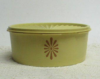 Tupperware Yellow Stacking Canister ~ Storage Container ~ 1970s ~ Retro Kitchen ~ Yellow Canister with Brown Daisy Design