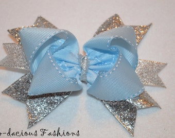 Custom made-Cinderella Bow-Girls Hair Bow-Light blue and Sparkle Ribbon-Stacked Hair Bow-Boutique Hair Bow-Babies-Toddlers-Little Girls