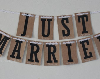Just Married banner sign,Craft Wedding banner, Wedding photo, Wedding decoration, Wedding Photo Prop