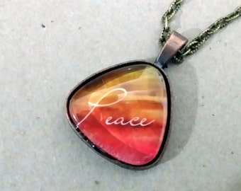 Peace inspirational pendant with brass necklace