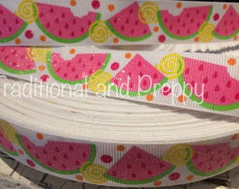 "7/8"" Glitter Summer WATERMELON Grosgrain Ribbon sold by the yard"