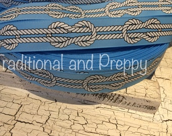 """7/8"""" preppy Nautical Rope Blue Grosgrain Ribbon sold by the yard"""