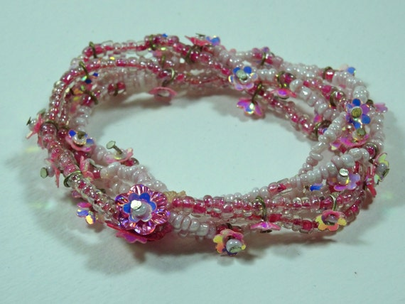 Vintage Bracelet - elastic pink with flowers