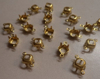 6mm square octagon brass open back connector 2 ring prong settings 18 pcs