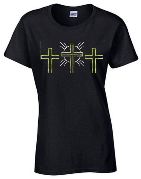 Three Cross Silver Gold Glitter T Shirt U S Custom Ink