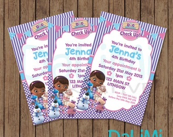 4 x 6 inch Doc McStuffins Invitation - Doc McStuffins Birthday Invitation - Doc McStuffins Party - Doctor Invitation - Printable Invitation