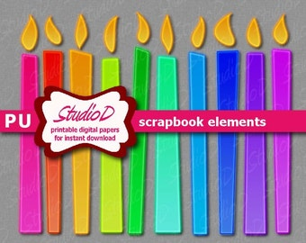 Candle clipart, Digital scrapbook elements, digiscrap rainbow neon clipart, digiital images, birthday clipart, printable embellishment