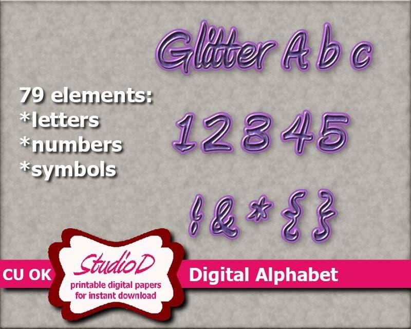 purple glitter alphabet digital alphabet clipart digital