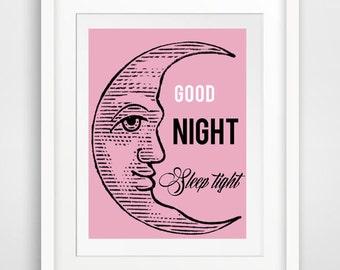 good night sleep tight print, baby girl nursery art baby boy nursery print baby room art, nursery quote,  baby wall art