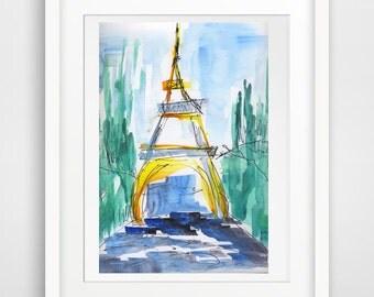 eiffel tower france wall art, wall art print, french wall art, paris art print, paris wall art, paris watercolor, paris painting