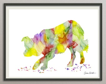 border collie art print watercolor print silhouette painting print poster wall art decor, dog painting print