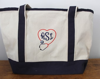 Nurse/Medical Canvas Personalized Embroidered Monogrammed Tote Bag