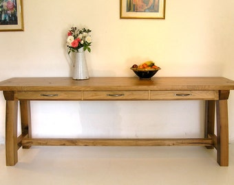 Large Contemporary Oak Console Table
