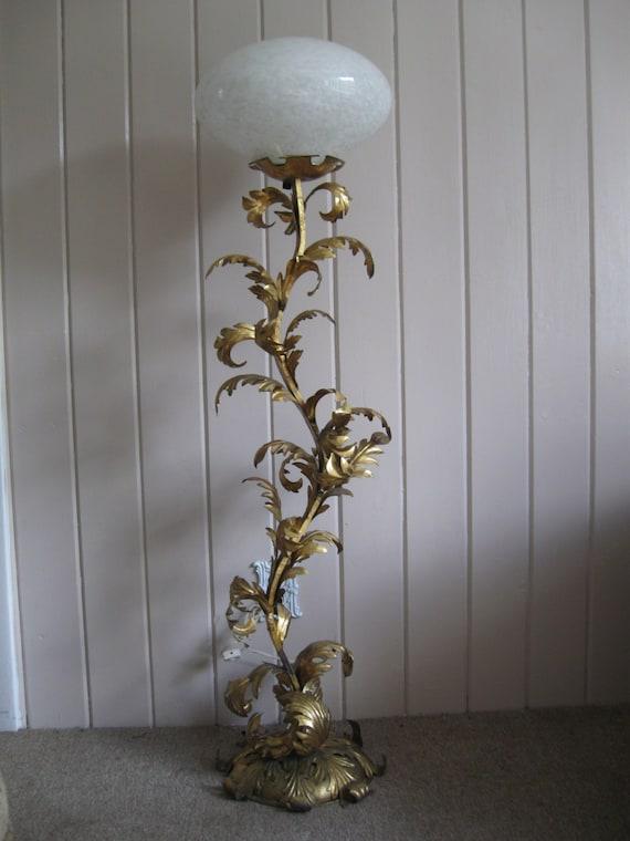 Vintagehollywood regency gold gilt floor lamp w murano art for Retro hollywood floor lamp